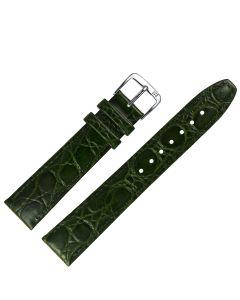 Uhrband - Rindleder, Krokoprägung - grün / silber - 10 mm