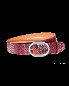 Gürtel Piton 3031 - 40 mm - Rindleder, Pythonprägung - rot / Metall - silber