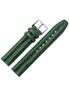Uhrband - Rindleder, Haiprägung - d.grün / silber - 18 mm