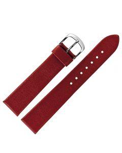 Uhrband - Rindleder, glatt - rot / silber - 18 mm