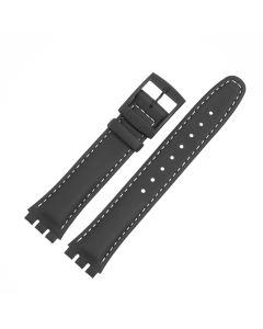Marburger M628 Uhrenarmband Leder, beschichtet schwarz