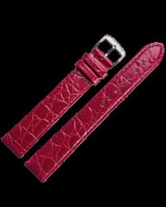 Uhrband - XL Rindleder,Krokonarbe - rot / silber - 16 mm
