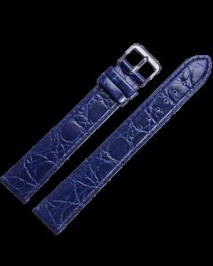 Uhrband - XL Rindleder,Krokonarbe - blau / silber - 16 mm