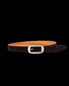 Gürtel Nubi 3201 - 20 mm - Rindleder, Nubuk - dunkelbraun / Metall - silber