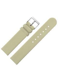 Uhrband - Rindleder, glatt - beige / silber - 12 mm