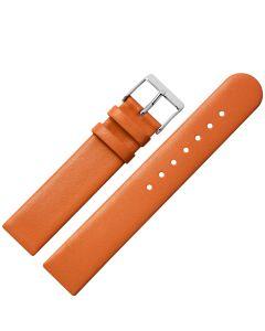 Uhrband - Rindleder, glatt - orange / silber - 12 mm