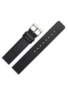 Uhrenarmband - passend für Skagen, Rindleder, glatt - schwarz / silber - 14 mm