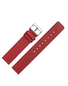 Uhrenarmband - passend für Skagen, Rindleder, glatt - rot / silber - 14 mm
