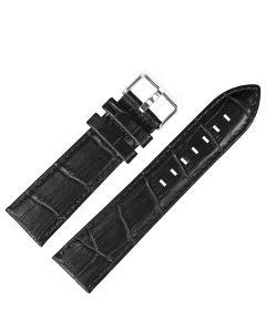 Uhrband - Rindleder, Krokoprägung - schwarz / silber - 22 mm