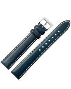 Uhrband - XL Rindleder, glatt - dunkelblau / silber - 18 mm