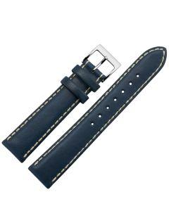 Uhrband - Rindleder, glatt - dunkelblau / silber - 18 mm