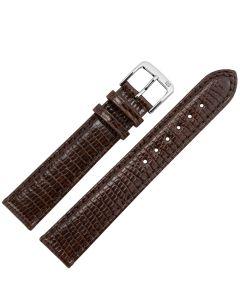 Uhrband - Eidechsenleder - dunkelbraun / silber - 16mm