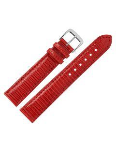 Uhrband - Eidechsenleder - rot / silber - 12mm