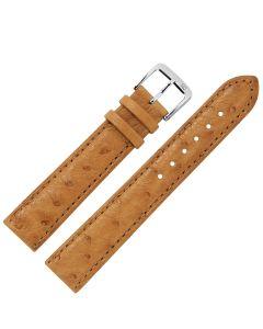 Uhrband - Straußenleder - hellbraun / silber - 14 mm