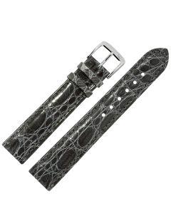 Uhrband - Krokodilleder - dunkelgrau / silber - 12 mm