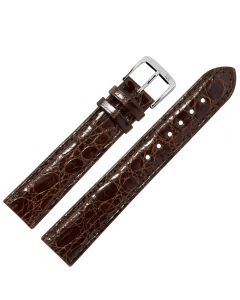 Uhrband - Krokodilleder - dunkelbraun / silber - 12 mm