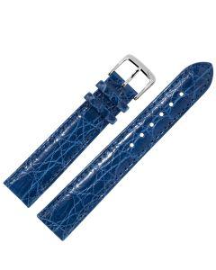 Uhrband - Krokodilleder - blau / silber - 12 mm