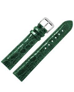 Uhrband - Krokodilleder - dunkelgrün / silber - 12 mm