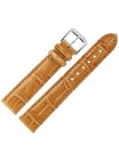 Uhrband - Alligatorleder - hellbraun / silber - 18 mm