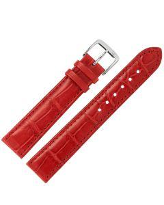 Uhrband - Alligatorleder - rot / silber - 18 mm