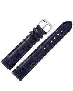 Uhrband - Alligatorleder - dunkelblau / silber - 18 mm