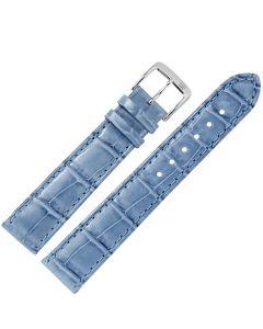 Uhrband - Alligatorleder - hellblau / silber - 20 mm
