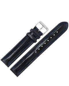 Uhrband - Teju-Eidechsleder - blau / silber - 18 mm