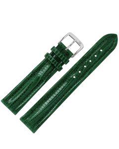 Uhrband - Teju-Eidechsleder - dunkelgrün / silber - 20 mm