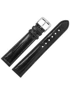 Uhrband - Teju-Eidechsleder - schwarz / silber - 16 mm