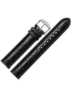 Uhrband - Rindleder, Krokonarbe - schwarz / silber - 20 mm