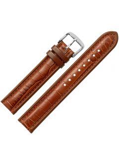 Uhrband - Rindleder, Krokonarbe - goldbraun / silber - 20 mm