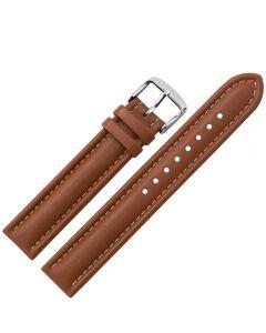 Uhrband - Rindleder, glatt - mittelbraun / silber - 18 mm