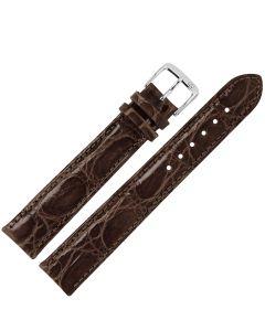 Uhrband - XL Krokodilleder - dunkelbraun / silber - 18 mm