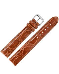 Uhrband - XL Krokodilleder - goldbraun / silber - 18 mm