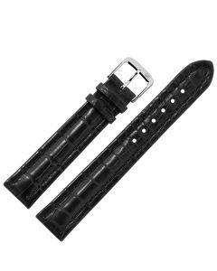 Uhrband - Alligatorleder - schwarz / silber - 18 mm