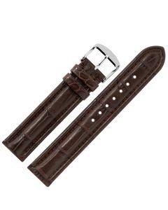 Uhrband - Alligatorleder - dunkelbraun / silber - 18 mm