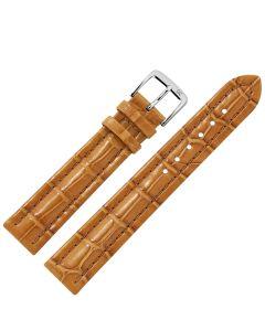 Uhrband - Alligatorleder - goldbraun / silber - 18 mm