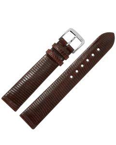 Uhrband - Eidechsenleder - dunkelbraun / silber - 12mm
