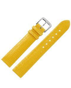 Uhrband - Eidechsenleder - gelb / silber - 12mm