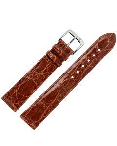 Uhrband - Krokodilleder - goldbraun / silber - 12 mm