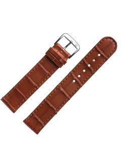 Uhrband - Alligatorleder - goldbraun / silber - 18mm