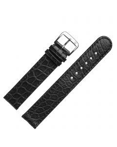 Uhrband - Alligatorleder - schwarz / silber - 18mm