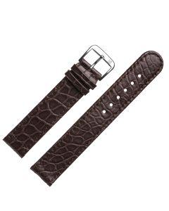 Uhrband - Alligatorleder - dunkelbraun / silber - 18mm