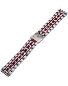 Uhrband - Edelstahl - silber / rot - 18 & 20 mm