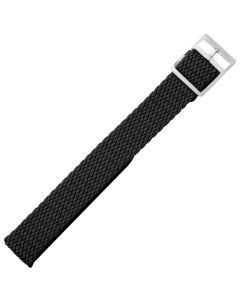 Uhrenarmband - Perlongeflecht - schwarz / silber - 10 mm
