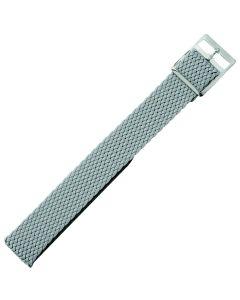 Uhrenarmband - Perlongeflecht - grau / silber - 18 mm