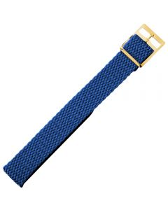 Uhrenarmband - Perlongeflecht - blau / gold - 8 mm