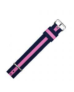 Marburger 951 Uhrenarmband im DW-Design pink blau/silber 18 mm
