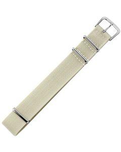 Uhrenarmband - Textilband, glatt - beige / silber - 18 mm