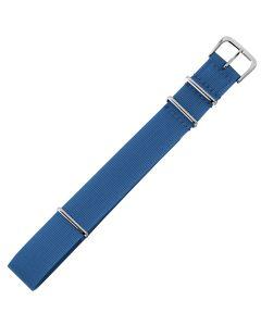 Uhrenarmband - Textilband, glatt - blau / silber - 18 mm